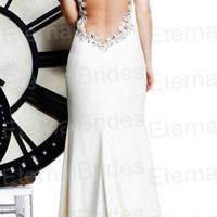 Sexy Mermaid Wedding Dress/ sweetheart sheer neckline/ open back/ see through back