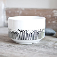 """Hand-painted bowl """"somewhat angular"""", black and white"""