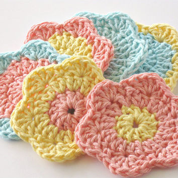Crochet Face Scrubbies, Facial Cleansing Pads, Washcloth, Makeup Removers