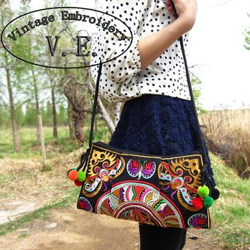 Thailand Hmong National Embroidered Bags Embroidery Unique Shoulder Messenger Bag Women's Day Clutch Small Handbag 24 Style
