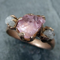 Raw Pink Tourmaline Diamond 14k Rose Gold Engagement Ring Wedding Ring One Of a Kind Gemstone Ring Bespoke Three stone Ring