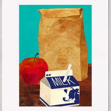 A SCHOOL LUNCH - Brown Bag Lunch - Greeting Card or Print with a Custom Mat - Child's Room Decor  (CMEM2013004)