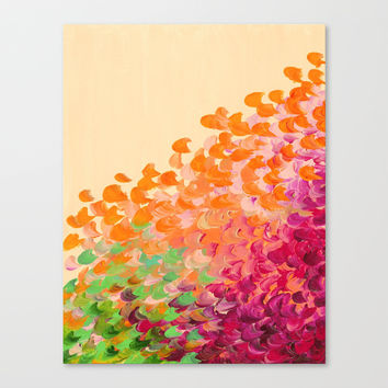 CREATION IN COLOR Autumn Infusion - Colorful Abstract Acrylic Painting Fall Splash Ombre Ocean Waves Canvas Print by EbiEmporium