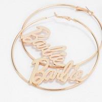 Missguided - Barbie x Missguided Gold Hoop Barbie Earrings