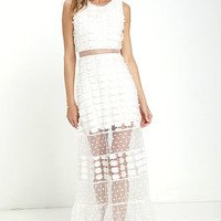 New Love Ivory Lace Maxi Dress