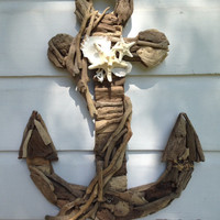 Driftwood Seashell Anchor/Nautical Home Decor/Anchor Wall Decor