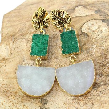 Stylish Green & White Natural Agate Druzy 24k Gold Electroplated Earring Jewelry