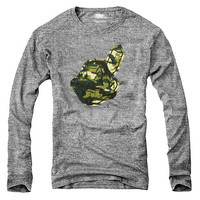 Majestic Threads Cleveland Indians Camo Heathered Tri-Blend Long Sleeve T-Shirt - Ash