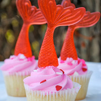 Mermaid Tail Cupcake Toppers- Set of 6 in Ariel Red