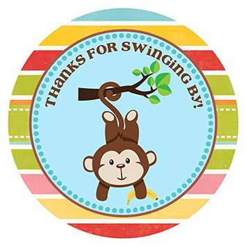 Monkey Thank You Stickers for Birthday or Baby Shower Party - Set of 30