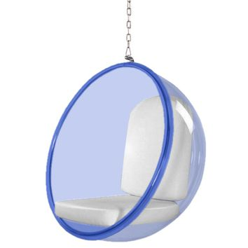 Fine Mod Imports Bubble Hanging Chair Blue Acrylic, White