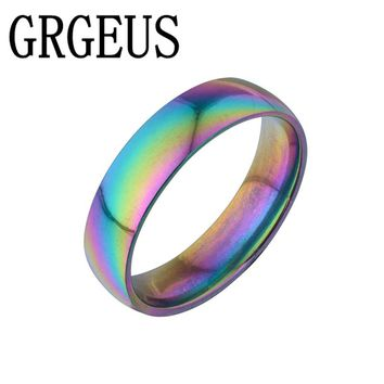 Charming Colorful Titanium Steel Finger Rings Romantic Engagement Wedding Promise Rings  Width 6mm for Women Men