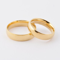 Fashion high polished shiny 18k gold plated band couple rings 316L stainless steel gold wedding rings jewelry for lovers Valentine Day SR032