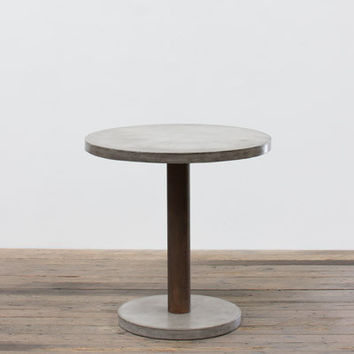 Round Concrete Bar Table With Rustic Pedestal & Concrete Base
