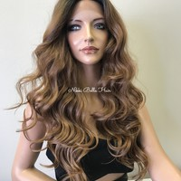 Balayage Ombré Silk Top 13x4 Frontal Human Hair Blend Multi Parting lace front wig 26""