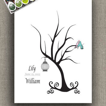 ThumbPrint Signature Wedding Tree Guest Book Alternative / Wedding Gift / Trees with Bird Cage and Love Birds