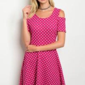 Purple White Polka Dots Dress