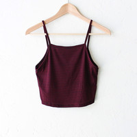 Striped Knit Crop Top - Burgundy
