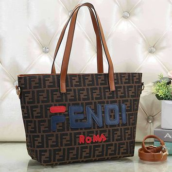 FENDI Trending Women Retro Leather Handbag Shoulder Bag Crossbody Satchel Brown