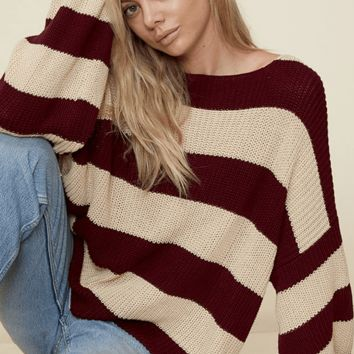 Women's Striped Sweater with Bubble Sleeves