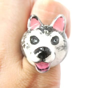 3D Husky Dog Face Shaped Enamel Animal Ring in US Size 7 and 8 | Limited Edition
