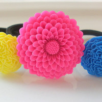 Neon Pink Yellow Blue flower hair band hair accessories set of 3 ponytail holders elastics lot