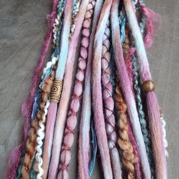 10 Pomegranate Tie-Dye Wool Synthetic Dreadlock *Clip-in or Braid-in Extensions Boho Dreads Hair Wraps & Beads Custom