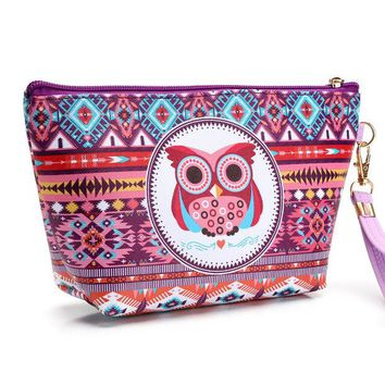 DCCKJG2 Girl's Cute Owl Cosmetic Bag Travel Organizer Functional Makeup Pouch Case Beautician Toiletry Kit Accessories Supply Products