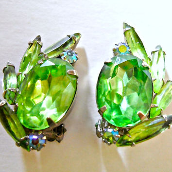 WEISS Green Rhinestone Earrings Signed ABs Vintage Navettes