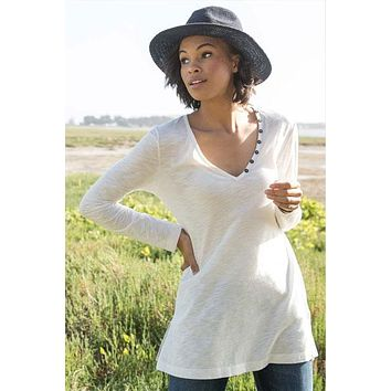 Organic V-neck Slub Tunic - Button Detail