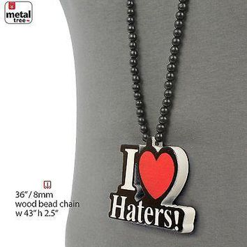 "Jewelry Kay style Hip Hop I Love Haters Wooden Pendant 8 mm Wood Beads Chain Necklace 36"" HW 04 BK"