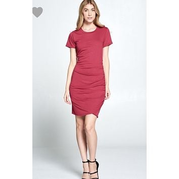 This is Love Dress Ruched side dress -Raspberry
