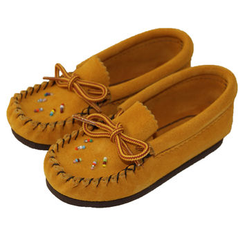 Children's Rubber Sole Suede Moccasins with Beading
