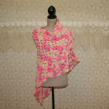 Handmade Crochet Shawl Triangle Shawl Chenile Granny Square Pink Beige Spring Accessories Festival Clothing Hippie Shawl Hippie Clothing