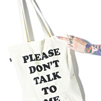 Lazy Oaf Don't Talk To Me Tote Bag White One