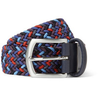 Anderson's Leather-Trimmed Elasticated Woven Belt | MR PORTER