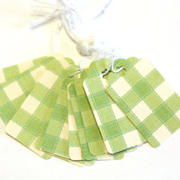 20 Medium Tags in Green and White Square Quilted Pattern - Retail Tags - Gift Tags - Green and White - Cardstock