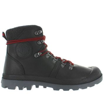 VONES2C Palladium Pallabrouse Hiker - Black/Red/Castlerock Leather Hiking Boot