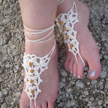 Free Shipping! Handmade Crochet Barefoot Sandals With Wooden Beads Foot Accessories Foot Jewerly Beach Summer