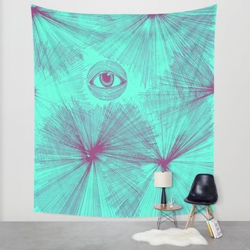 Uncommon Knowledge - Teal Wall Tapestry by Ducky B