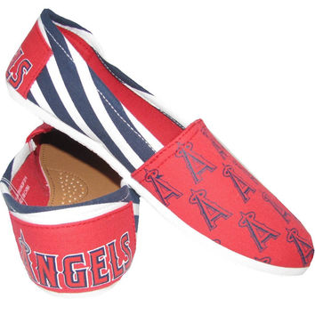 Los Angeles Angels of Anaheim Forever Collectibles Women's Canvas Slip On Shoes Sizes S-XL w/ Priority Shipping