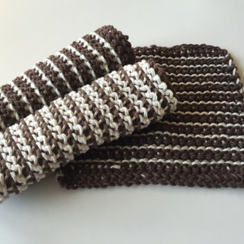 Crochet Washcloths (Set of 3) Brown - Ecru - Cotton - Dishcloths - Eco friendly - Handmade - Kitchen