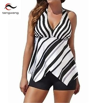 Plus size 2017 Women Retro Swimwear Sexy Halter Two piece Striped Tankini Swimsuit Beach Sport Shorts Bathing Suit Bodysuit 3XL