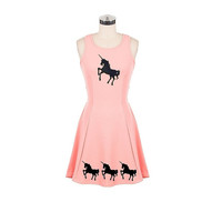 Cute unicorn dress womens pink dresses clothing unicorns a line cut out back retro clothing pin up girl tunic