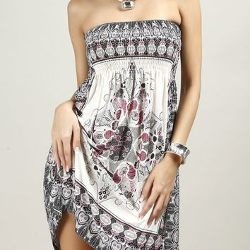 e46ed88de8 Casual Smocked Bodice Strapless Shift Dress In Tribal Printed