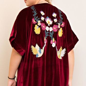 The June Embroidered Velvet Kimono