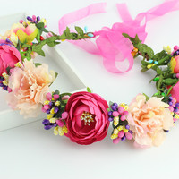 11 colors Handmade Fabric Camellia Flower Crown Bridal Hair Accessories Prom Flower Garland for Kids  health flower wreath
