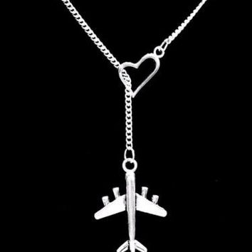 Airplane Travel Long Distance Heart Lariat Gift Friend Sister Necklace