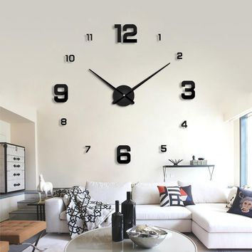 modern design rushed Quartz clocks fashion watches mirror sticker diy living room decor new arrival 3d real big wall clock