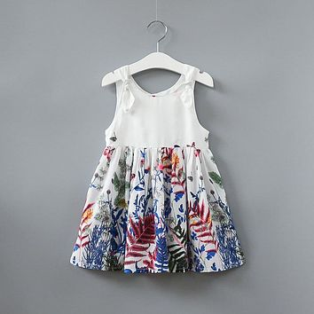 Cute Casual Summer Flowers Printed Girls Dress Baby Kids Princess Dresses clothing Casual Wear Clothes